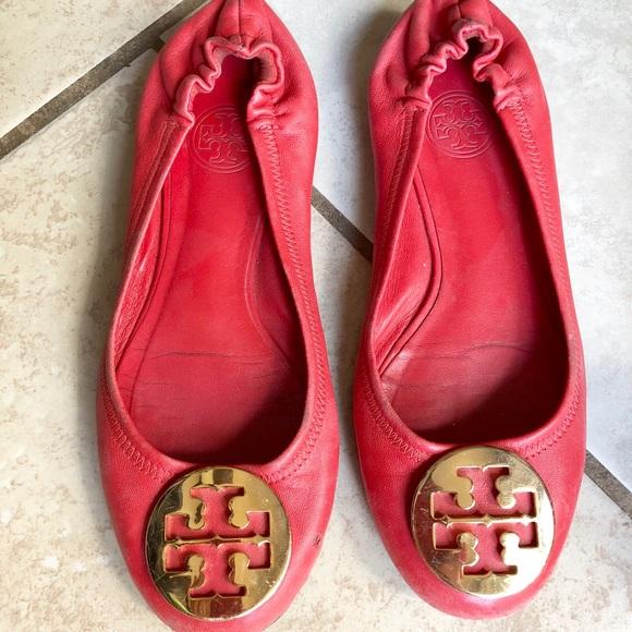 Tory Burch Flat Shoes Orangish Red Size